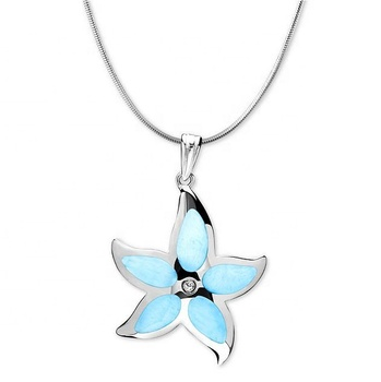 Wholesale 925 Sterling Silver Larimar Gemstone Star Pendant