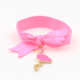 Custom printed ribbon elastic girls pearl hair tie with charm
