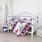 100% Cotton Boys Baby Bedding Cartoon Cars Printing 4 Pieces Boys Cot Baby Crib Bedding Set 100% Cotton