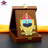 Longzhiyu 12years manufacturer wood shield MDF plaque for award and souvenir wood shield plaque with soft enamel metal plate
