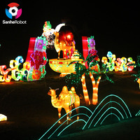 Chinese outdoor decoration art LED lights string Static metal chinese lantern festival