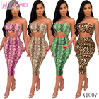 X1007 Wholesale women summer dress strapless hollow out snake skin print tube top ladies sexy fashion bodycon midi dress