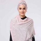 New design flower lace with pearl muslim scaef rose design lace and bead hijab