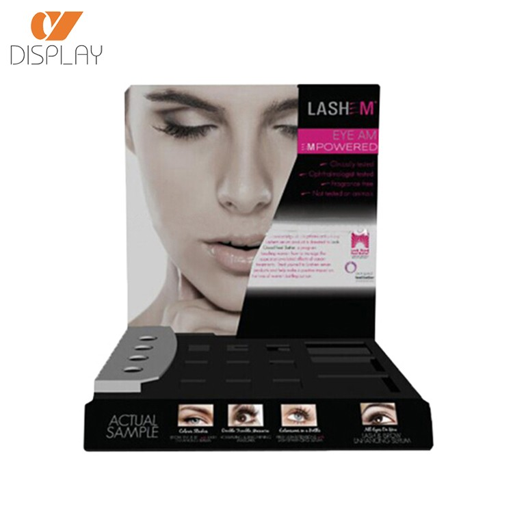 Custom acryl make-up zeigen fall pos kosmetische merchandising display mascara acryl display tray