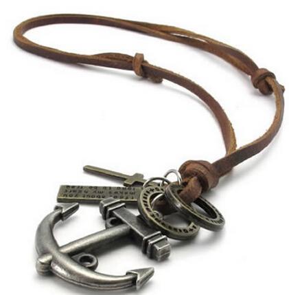 649d9276aaf1 Compre Joyería De Moda Para Hombre Collar De Ancla Cruz Colgantes ...