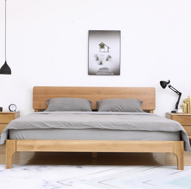 Simple solid wood <strong>bed</strong> white oak modern 1.5M <strong>bed</strong>