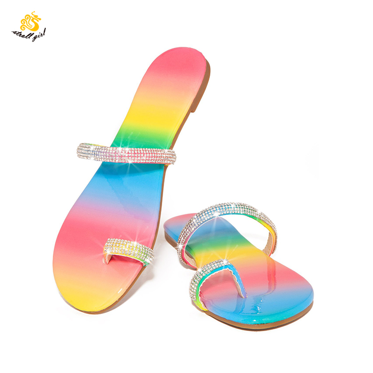 2019 China Import Fashion Clip Toe Slide Crystal <strong>Sandal</strong> For Ladies Fancy Design Women Female Ring Flat Outdoor Indoor Slipper