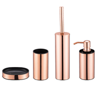 Luxury 4pcs toilet accessories metal rose gold stainless steel bathroom set
