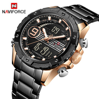 NAVIFORCE 9146 S Military Sport Man Digital Watches Top Brand Luxury Stainless Steel Quartz Male Clock New Best Seller