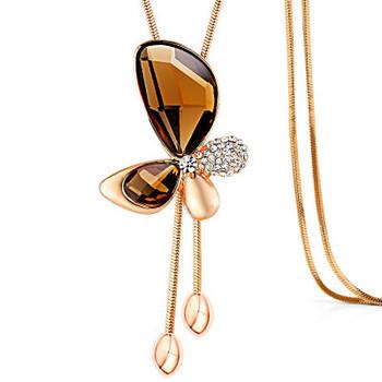 006bdbde44ad 2019 venta al por mayor de oro rosa clásico de mariposa de cristal borla  larga declaración
