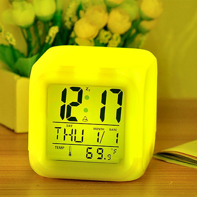 Fangjuu new style electronic portable concise multi-function cube digital modern colorful alarm clock