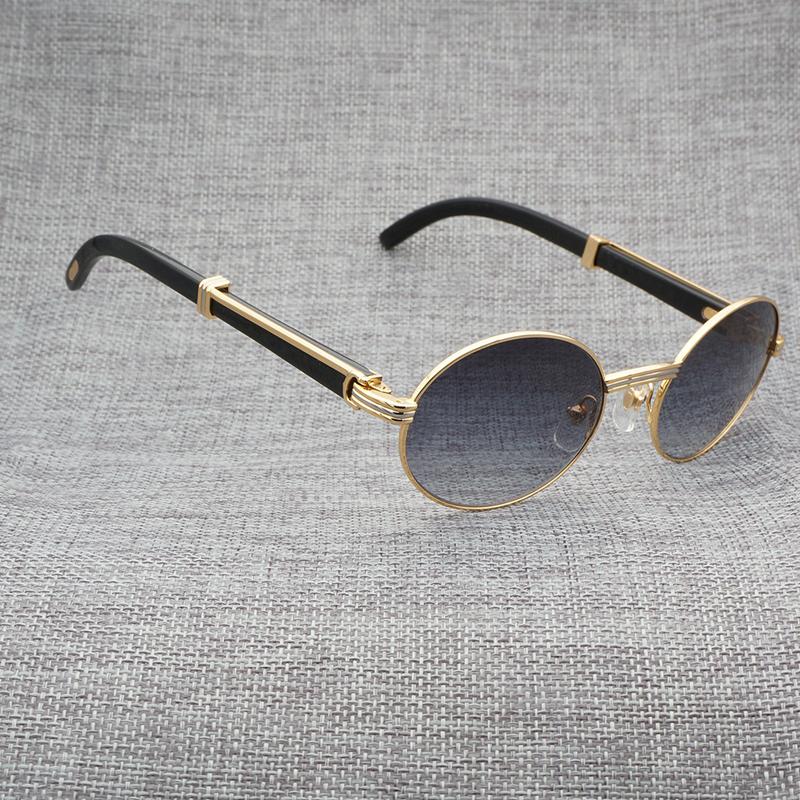 Natuurlijke Zwart Wit Buffelhoorn Zonnebril Mannen Hout Ronde Roestvrij Eyewear Frame Gouden Brillen Óculos Gafas Accessoires