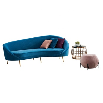 European style 4 Seater Couch Large Liivng Room Furniture Blue Velvet  Corner Curved Sofa, View velvet corner sofa, Rich Furniture Product Details  from ...