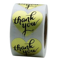 Hybsk Love Heart Gold Metallic Foil Thank You Stickers with Black Ink Adhesive Label 500 Per Roll