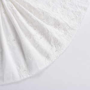 Original factory custom made white cotton lace embroidered fabric for woman cloth