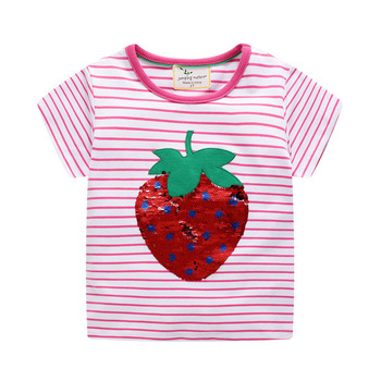 Sequins embroidered girls short-sleeved t-shirt cotton girls short-sleeved t-shirt