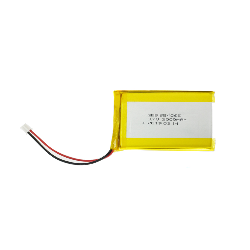 GEB 654065 7.4wh lipo 3.7v 2000mah lithium polymer <strong>battery</strong>