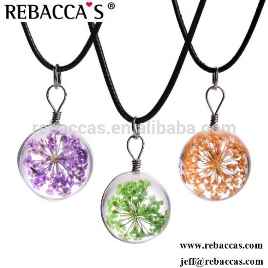 2ba7e0600886 Seca Natural planta especímenes collar hecho a mano seca Flor de vidrio  llena mundial collar