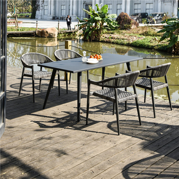 In stock outdoor garden table chair dining set poly rattan furniture