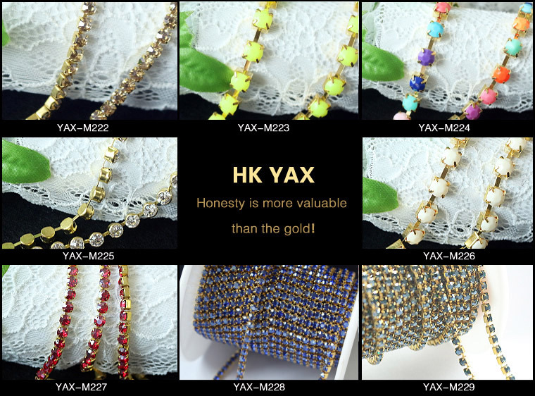 W0103 China A Good Quality Crystal Rhinestone With Gold/Silver setting Rhinestone with Metal Chain 10 Yards