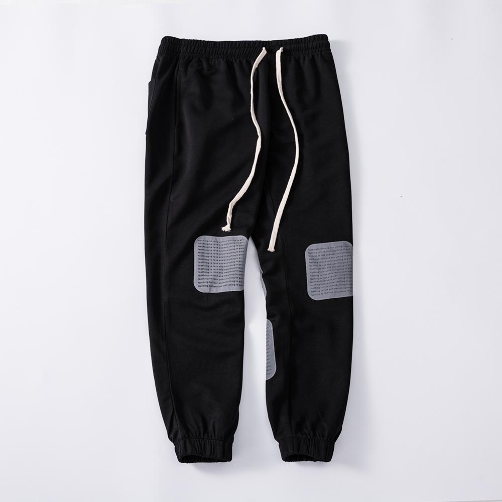 2020 กางเกงผู้ผลิตขายส่งผู้ชายสบายๆกลางแจ้ง Hip-Hop 3M สะท้อนโลโก้ Jogger CUSTOM Made Black Tapered TRACK กางเกง