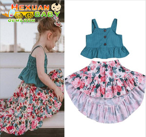 6e2563498c07 Baby Clothes Girl Toddler Kids Baby Girl Summer Outfits Clothes Sleeveless  Ruffles Tops+Skirt 2PCS