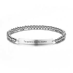 Silver Bead Stainless Steel Bracelet Letter Engraved Women Jewelry Elastic Rope Bangles For Engagement Gift