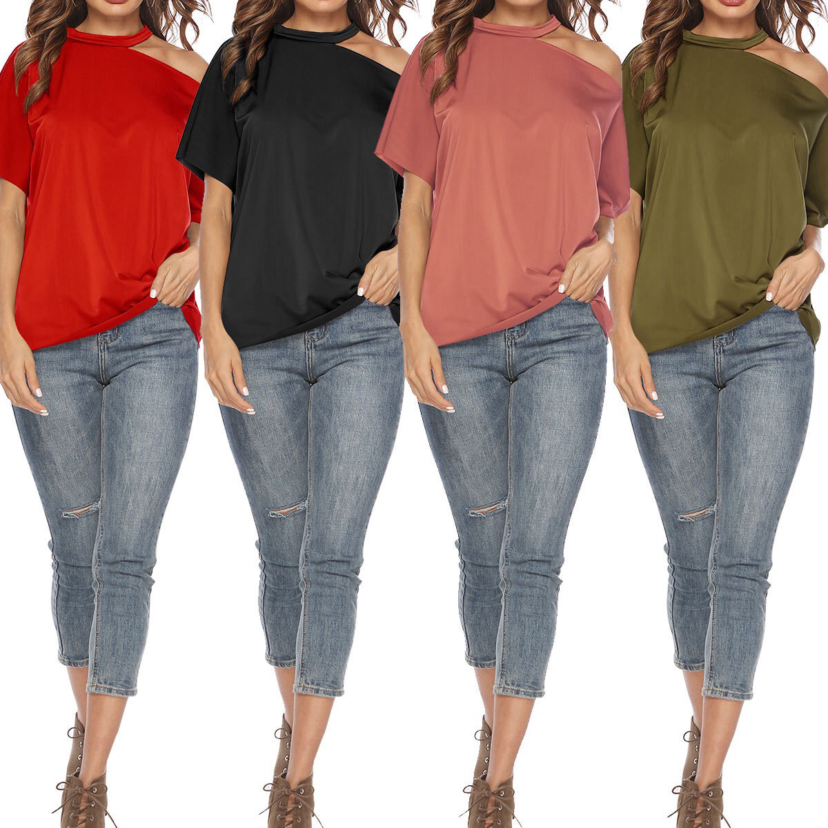 F5 Oversized Short Sleeve female clothes Basic Tshirt Cut Out T-Shirt Cold <strong>Shoulder</strong> O Neck Solid Loose Casual tunics female Tops