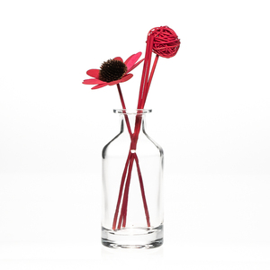 Home Decorative 300ml Round Clear Flower Crystal Glass Vase with Reed Diffuser Paper Flower