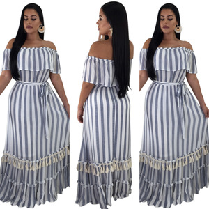 Tassel Bohemian Short Sleeve Maxi Woman Dresses Sexy Club Summer Dress Mujer Vestidos SQ6008