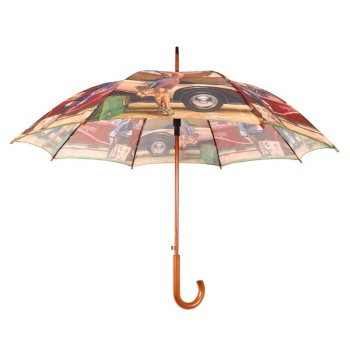 RST custom logo ancient ways oil painting scenery umbrella straight wooden handle cheap polyester umbrella