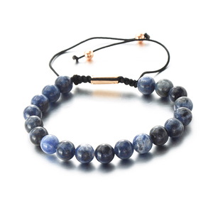 Natural Round Beads Blue Grain Stone Braided Adjustable Jewelry Bracelet