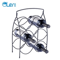 Black Steel Small Decorative Metal Standing Wine Rack For Home & Hotel 6 Wine Bottles Storage