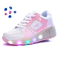LED Light Wheel Shoes Roller Sneakers Shoes with Wheels for Kids