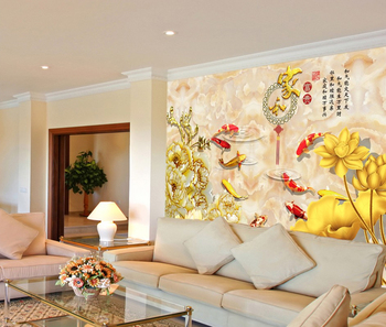 Murales 3d Per Interni.Alta Qualita Di Stampa 3d Interni Goldfish Chinest Stile Carta Da Parati Murales 3d Per La Decorazione Domestica Campione Gratuito Buy Cinese Carta