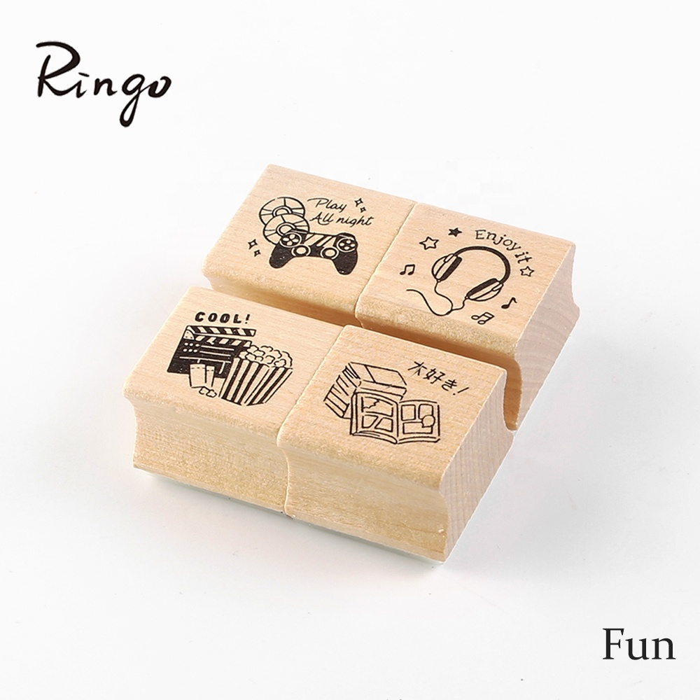 Custom Wooden Rubber Stamp Business Logo Wedding Address