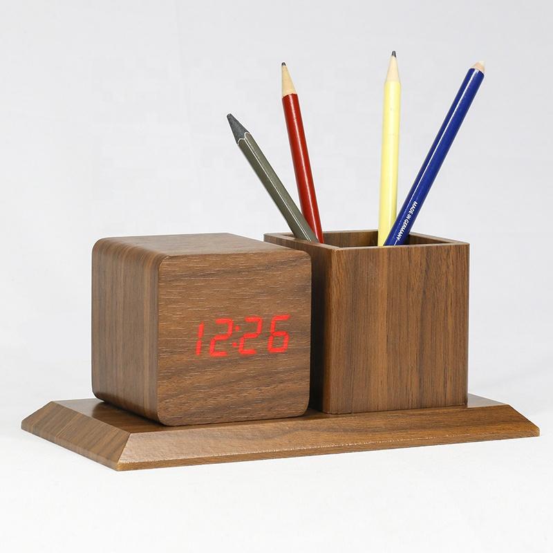 KH-WC009 Desktop Decoration Modern Multifunction Vintage Wooden Pen Holder Pot Container Clock