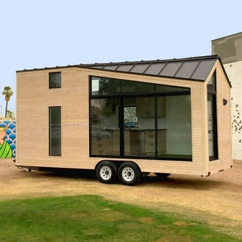 China mobile shipping container homes wooden movable prefabricated green european modular wheels tiny trailer house