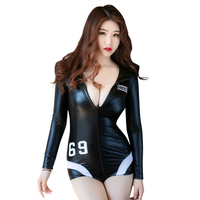 China Factory temptation women's sexy PU leather biker jacket lingerie zipper open crtoch bodysuit costumes erotic lingerie