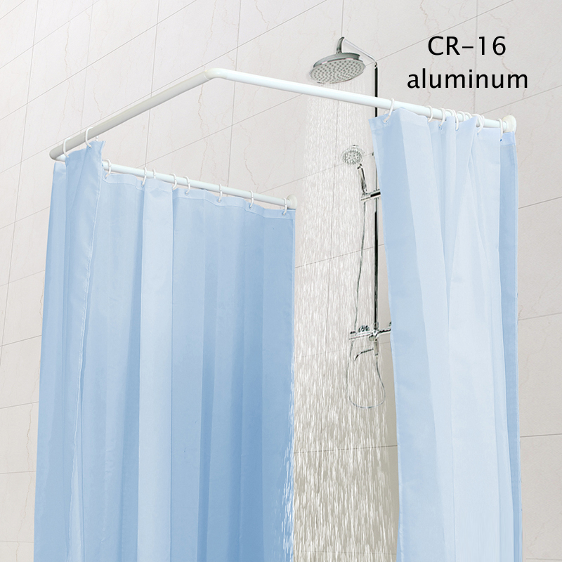 Metal u-shaped white powder coating shower curtain rod
