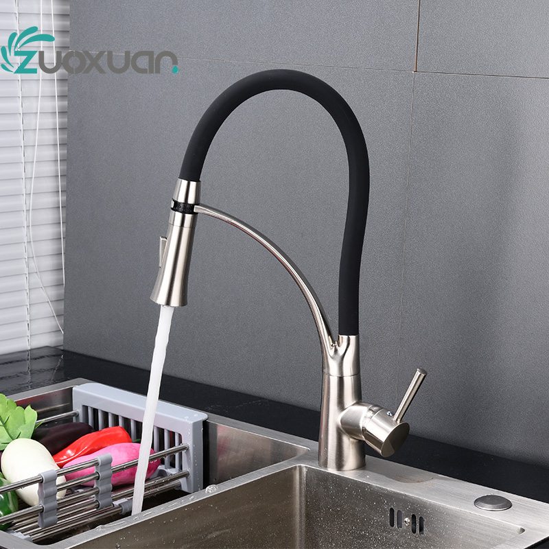 Pull out spray Chrome brass sink mixer kitchen faucet