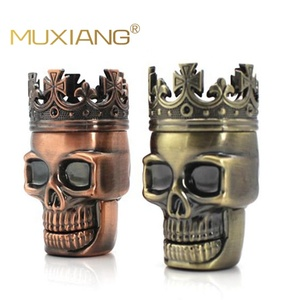 MUXIANG 3pieces metal plastic grinder tobacco Bronze custom King Skeleton grinder