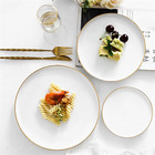 Simplism european white wedding decoration dinnerware sets home goods ceramic dinner plate with gold rim