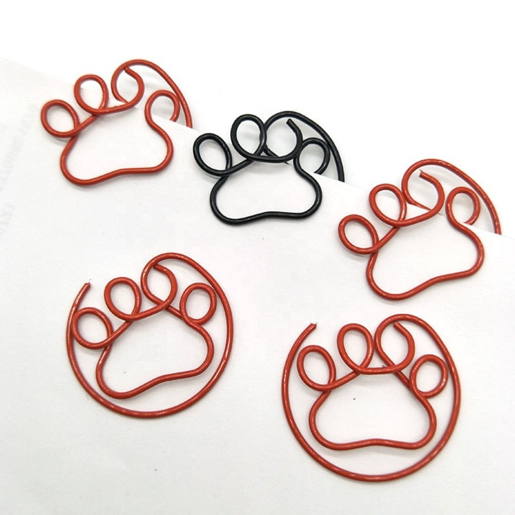 Office supplies creative Paw shaped paper clamps clip bookmarks
