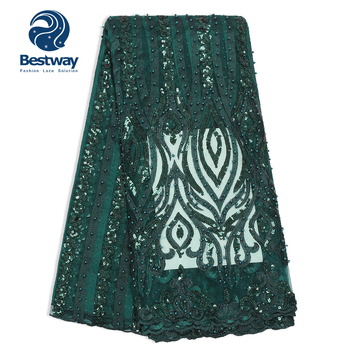 Bestway latest 3d embroidery beaded green sequin lace fabric