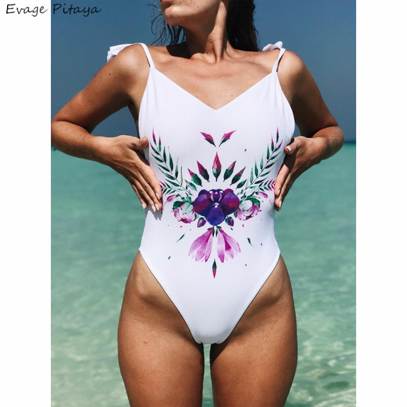 mix color mix size backless ruffles high leg printing one piece south korean sexy extreme micro bikini swimsuit