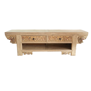 Chinese hand carving antique element pattern pine wood tv console table with storage block folk culture traditional furniture