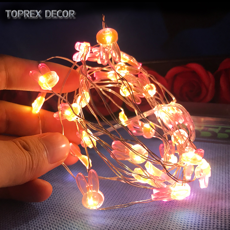 Toprex new easter decor AA battery operated led copper wire light with bunny rabbit lamp