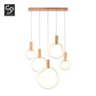 Contemporary nodic long stair villa round shape yellow white led chandelier pendant light