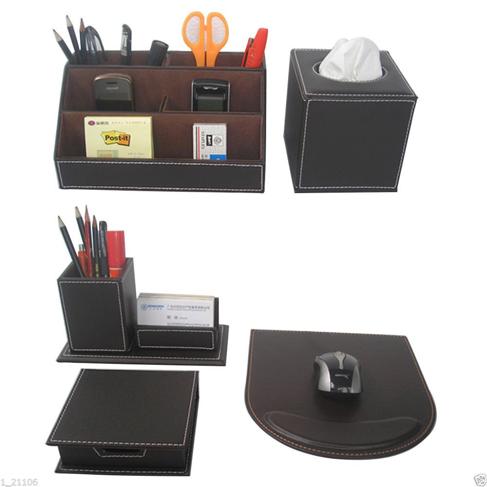 School Brown Bureau Set Lederen Items Kantoor Desktop Briefpapier Set